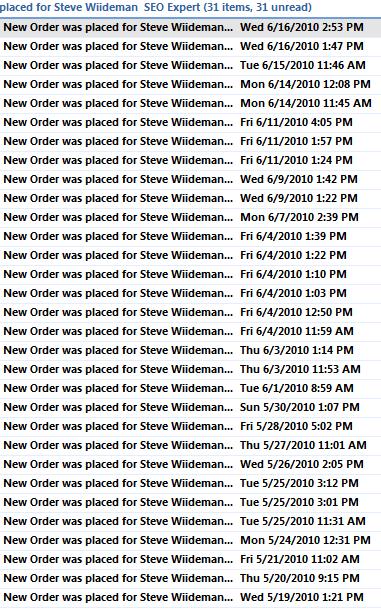 Orders From the SEO Website Program by Steve Wiideman