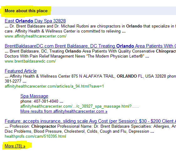 Screenshot of Citations From Local Business Directories