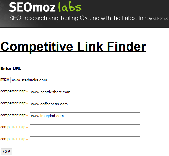 Screenshot of SEOMOz Competitive Link Finder