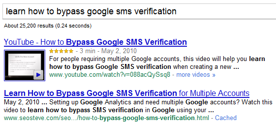 Sample SERPS Listing