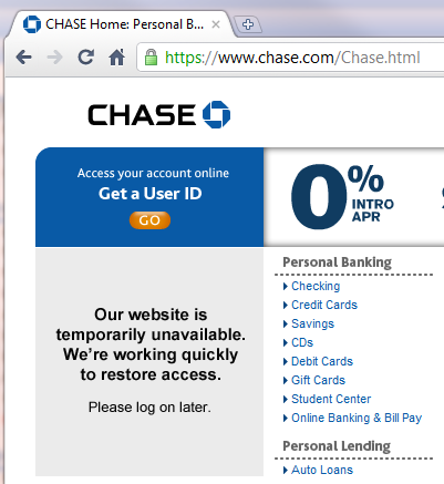 Screenshot of Chase.com with the Maintenance Message