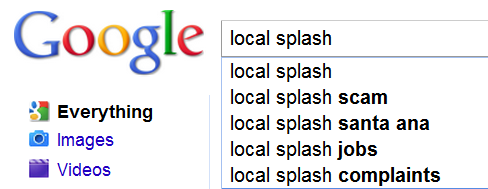Screenshot of Google Autocomplete Scam Word Reappearing