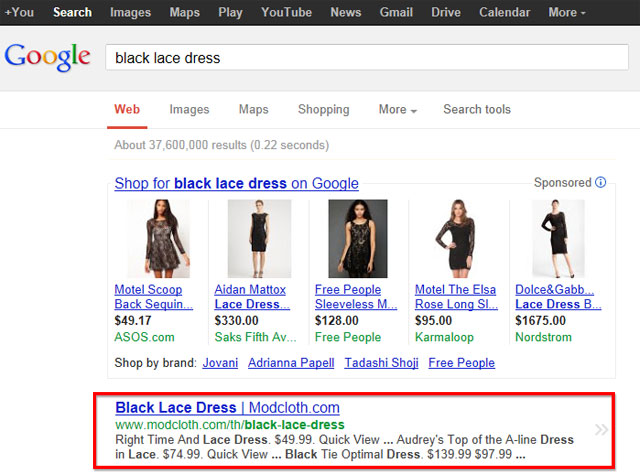 Black Lace Dress Search Example