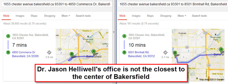 Local SEO - Distance from Search Example