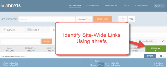 Identify Site-Wide Links in ahrefs