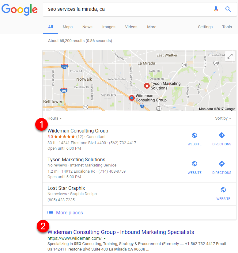 Local SEO Search Result Screenshot