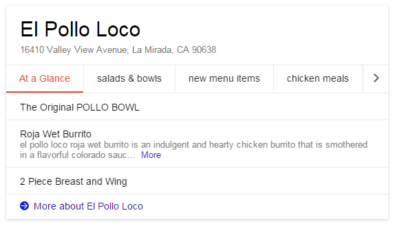 Example of Restaurant Menu Appearing in Knowledge Graph