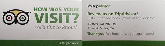Example of Front and Back of TripAdvisor Business Card