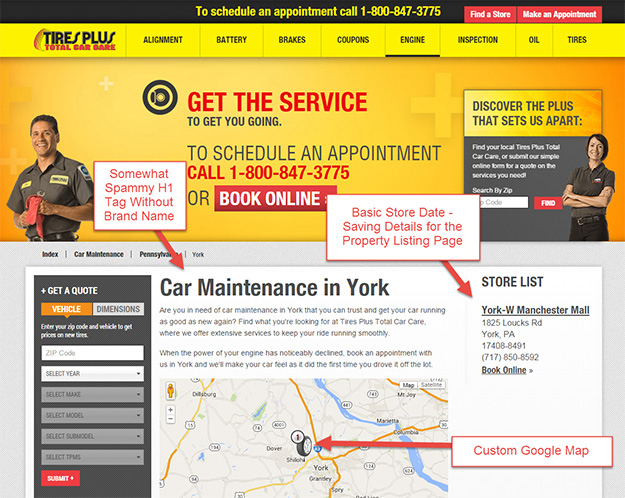 TirePlus City Landing Page Example