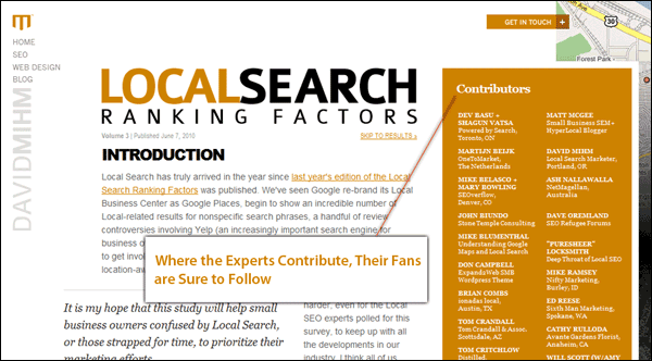 Screenshot of David Mihm's Local Ranking Factors Page