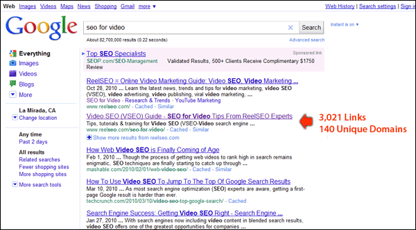 Screenshot of ReelSEO Rank in Google