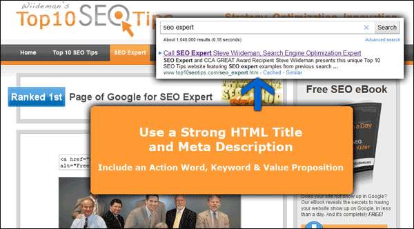 Screenshot Showing My One Page with Title and Meta Data