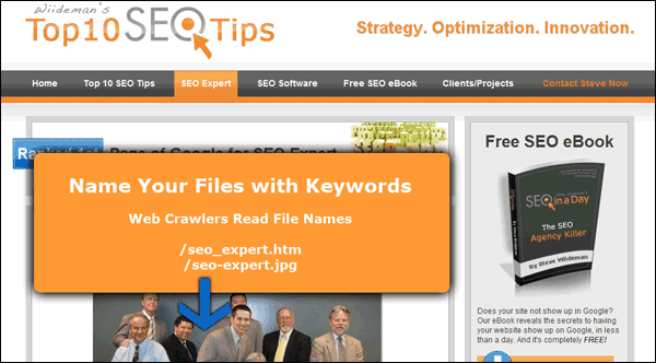 Screenshot Showing My One Page with Keywords in File Names