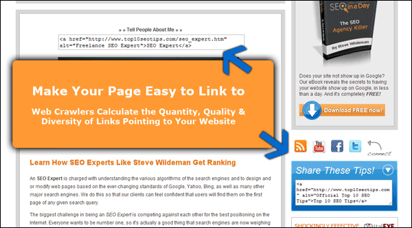 Screenshot Showing My One Page with Link Bait Elements