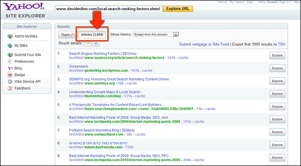 Screenshot of Yahoo! Site Explorer Data