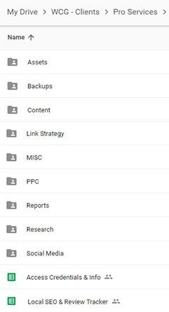 Google Drive Folder for an Attorney We Work With