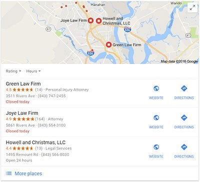 3-Pack Example - Local SEO for Lawyers